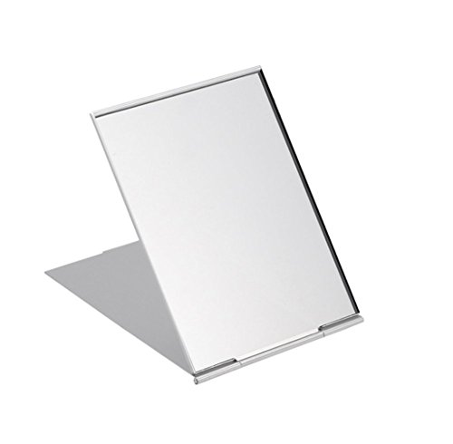 Spaufu - Espejo de bolsillo plegable portátil pequeño ultradelgado plegable compacto para maquillaje, afeitado bolso de mano, camping, viajes, accesorio diario, color al azar