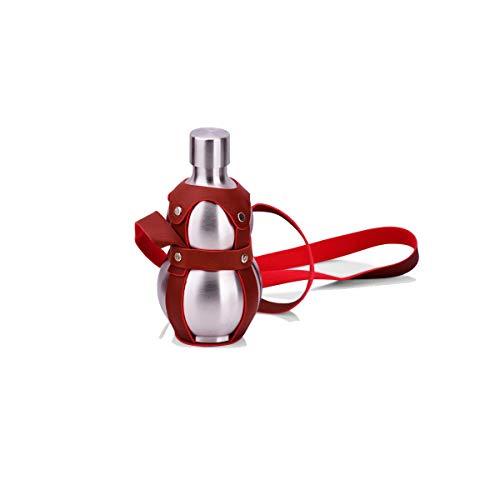 Kaiyitong01 Kürbisflasche, Outdoor-Leder-Schultergurt, hochwertiger Edelstahl 304, Kürbisform, 100% auslaufsicher, geeignet für Weinbrand, Whisky usw. (250 ml, 500 ml, 1500 ml), drei Stile zur Auswahl