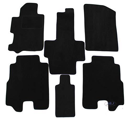 J&J AUTOMOTIVE | Alfombras de suelo negro terciopelo Compatible con Honda FRV 2004-2009 6 unidades