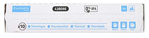 Exacompta 43809E Packung (mit 10 Kassenrollen, 1-lagig thermisch, ideal für Kassen, 48g/qm, Breite: 80mm, Durchmesser Kern: 12mm, Länge: 90m) 1er Pack (1 x 10 Stück) weiß