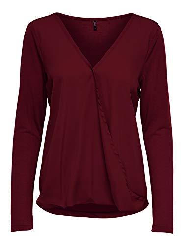 ONLY Damen Bluse Pullover onlPALMA L/s V-Neck Mix Top JRS, Größe:M, Farbe:Braun