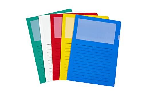 perfect line 20 Fenster-Mappen DIN-A4 bunt, Akten-Hüllen seitlich & oben offen, farbige Klarsicht-Folie, 5 bunte Farben sortiert, Sicht-Tasche mit Fenster zum Schutz von Papier & Dokumenten