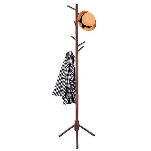SPRINGOS Perchero de pie de madera con 8 ganchos, 175 cm, resistente, estable, para ropa, para la entrada
