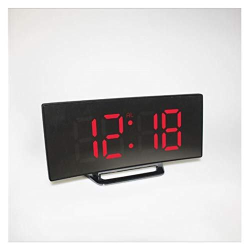 CHAOX Digital Alarm Clock LED Mirror Clock Multi-function Snooze Display Time Night LCD Light Table Desktop Wall watch clock (Color : Red)