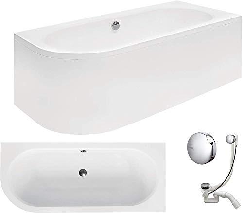 VBChome Badewanne 170x75 cm Acryl SET Schürze Siphon Wanne Ecke Eckbadewanne Weiß Design Modern Viega Simplex für 2 Personen rechts (Wanne 170x75 rechts + Schürze + Ablaufgarnitur)