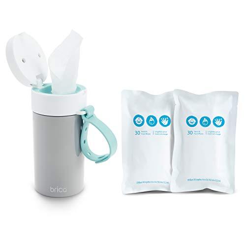 Munchkin 051801WWW Brica Clean-to-Go Feuchttücher Starter Pack, enthält 60 geruchlose Hand- und Gesichtstücher für Babys, 99% gereinigtes Wasser mit Kamille und Aloe, grau, 246 g