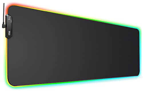 KTRIO RGB Large Gaming Mouse Pad with Stitched Edges, LED Extended Mousepad with Superior Micro-Weave Cloth, Non-Slip Base, Water Resist Keyboard Pad, Desk Mat for Gamer, Office & Home, 31.5 x 11.8 in