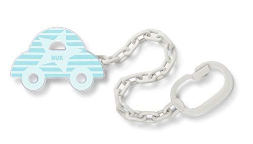 Nuk 10256446 Schnullerkette, mit Clip, für die sichere und praktische Befestigung des Schnullers an Babykleidung, BPA frei, 1 Stück, Auto, blau