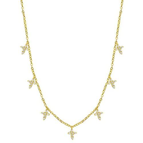 MIKUAU collarCollar de Estrella de Plata Collar de Gargantilla de Gota de Moda para Mujer Collar Bohemio Regalo de joyería de Fiesta