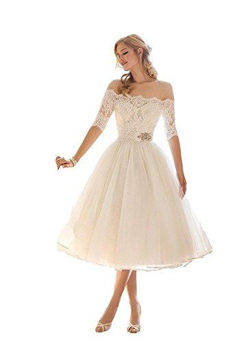 Mingxuerong Hochzeitskleid Weiß Kurz Spitze Tüll Damen Langarm Knielang Brautkleid