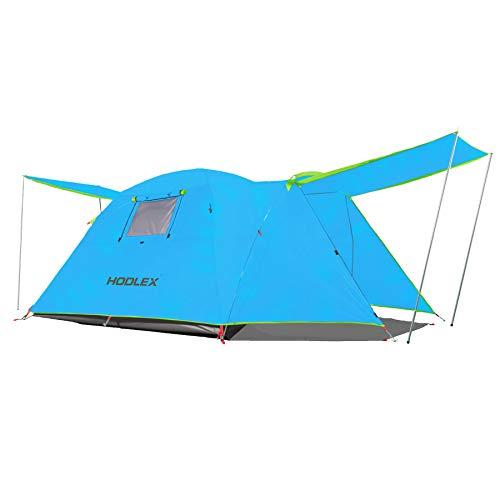 HODLEX Tienda de campaña al aire libre para 4 personas grande impermeable Dome Tent Easy Tent con porche de doble capa para Festival Familiar Camping (azul)