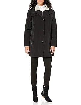 Fleet Street Ltd Women s Rain Jacket with Button Out Faux Wool Liner Black L