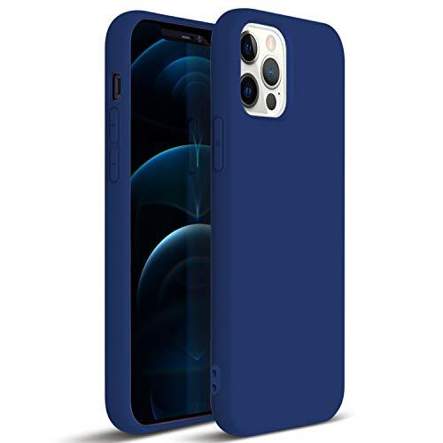 ZUSLAB Compatibile con Apple iPhone 12/ iPhone 12 PRO(6,1') Custodia Silicone Nano , Cover Sottile in Gomma Gel Morbida - Blu Cobalto