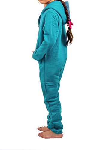 Gennadi Hoppe Kinder Jumpsuit - Jungen, Mädchen Onesie Jogger Einteiler Overall Jogging Anzug Trainingsanzug, türkis,158-164 - 3