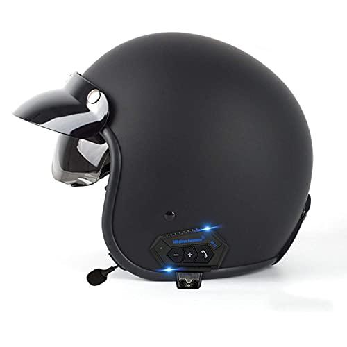 Casco de motocicleta Bluetooth 3/4 de cara abierta para moto scooter casco DOT/ECE certificado medio casco Cruiser Chopper Skateboard ATV ciclomotor Mofa Crash Cap lente dual E, L