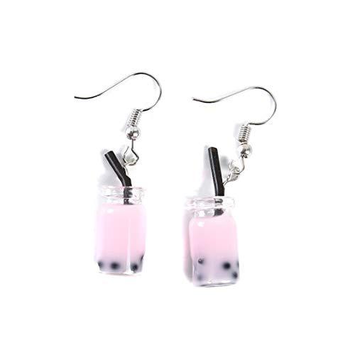 Idiytip Creative Unique Bubble Tea Drop Earrings Personality Funny Dangle Hook Earrings Party Jewelry(Pink)