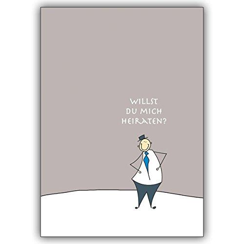 1 Hochzeitskarte: Niedlicher Hochzeitsantrag von ihm: Willst Du mich heiraten? • edle Klappkarte mit Umschlag als lieber Gruss für Sie