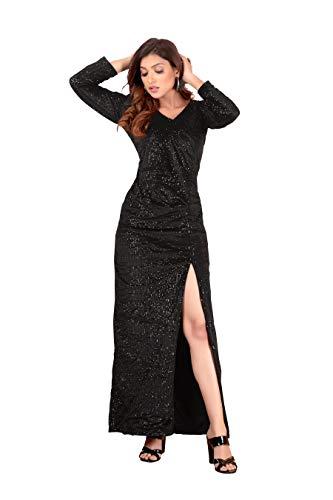 Brucella Women's Lining Sequin Slit Maxi Dress (X-Large, Maroon)