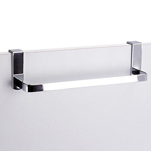 MSV Gancho Colgador DE Toalla para Puerta DE Acero Cromado 25 CM, Inoxidable, Plateado, 25x7x8.30 cm