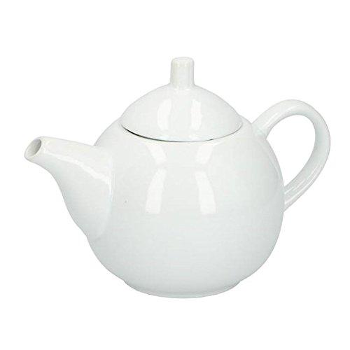 Klassische weiße Teekanne aus Keramik, 1 Liter, mit passendem Deckel