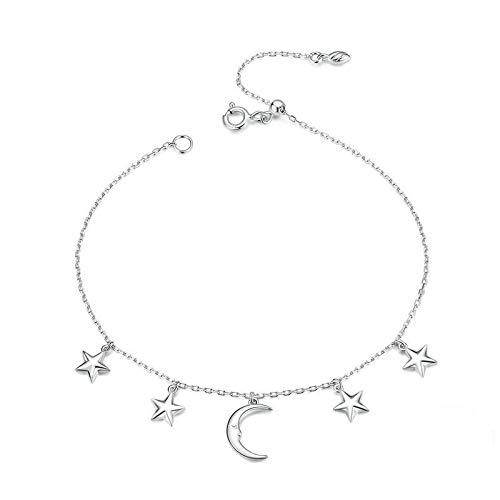 Siskey Women's Charm Bracelet,Sterling Silver Bracelet Adjustable Bracelet S925 Shiny Diamond Silver Bracelet for Lover's Birthday or Anniversary Present-(Star and Moon Bracelet, Silver)
