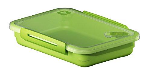 Rotho Memory Mikrowellendose mit Deckel und Ventil 0.9 l rechteckig, Kunststoff (BPA-frei), grün / transparent, 0,9 Liter (23 x 16 x 4,7 cm)