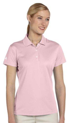 Adidas Women's Performance Rib Knit Collar Polo Shirt, Medium, Tea Rose