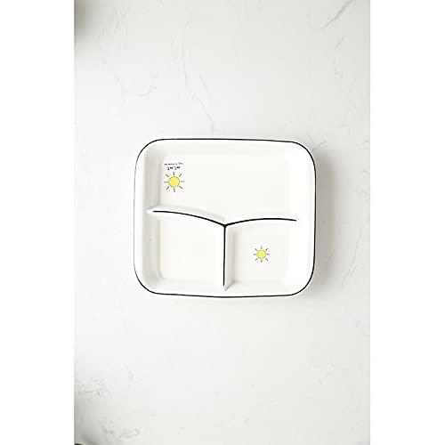 Vajilla Ración Cuenco de porcelana Plato separador de alimentos Desayuno Plato de dibujos animados Rectángulo Plato de rejilla múltiple para el hogar (Sol)