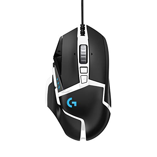 Logitech G502 HERO High Performance Gaming Mouse Special Edition, HERO 16K Sensor, 16 000 DPI, RGB, Adjustable Weights, 11 Programmable Buttons, On-Board Memory, PC / Mac - Black / White