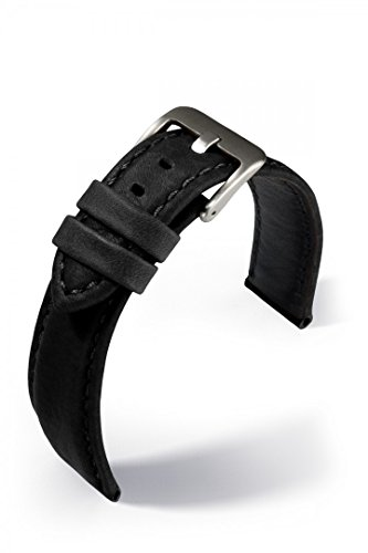 Reloj De Pulsera Banda de piel Montreal Mate wassergeschützt, color: negro, Ancho: 20mm