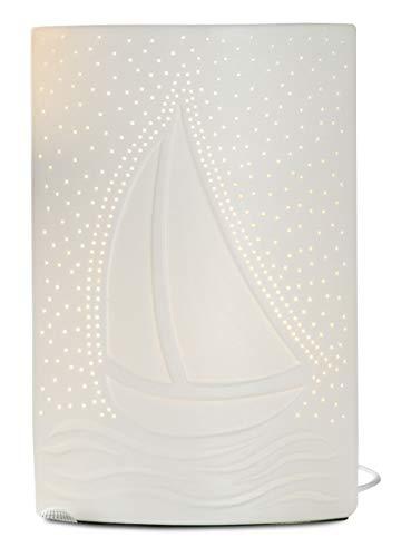 GILDE Lampe Segelschiff - aus Porzellan mit Lochmuster im Prickellook H 28 cm