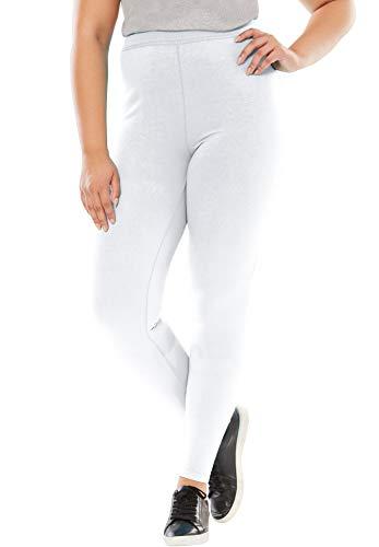 Woman Within Women's Plus Size Petite Stretch Cotton Legging - L, White
