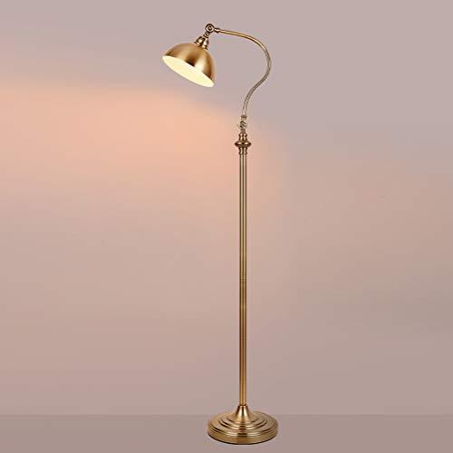 QJUZO Lámpara de Pie Vintage Retro LED Lampara pie Salon,Luz de Suelo con Pantalla de Metal, E27 Lámpara de Lectura Dormitorio,Dorado