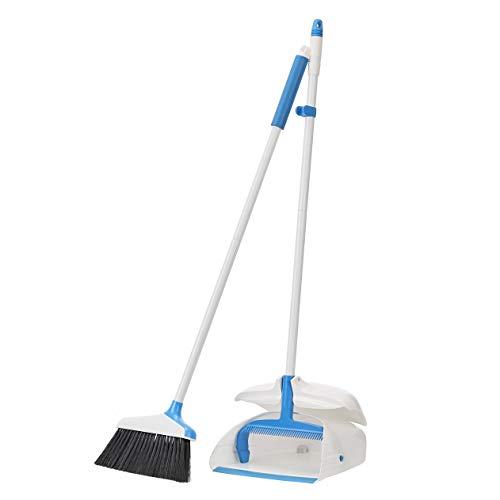 Amazon Basics Balai et pelle à poussière à manche, bleu et blanc