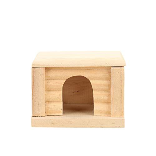 POPETPOP Natürliche hölzerne Kabine Hamster-Haus-Qualitäts-entzückende Haustier-Hütte kreativer Hamster Cabin Eco-Friendly RATT-Raum mit Flacher Oberseite
