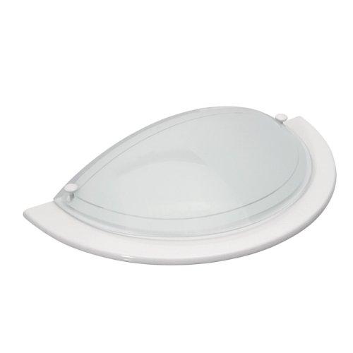 applique demi lune verre et aluminium blanc et chrome - blanc