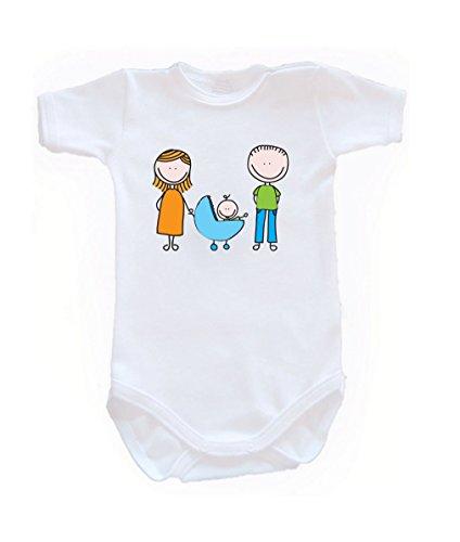 Couleur Mode Dessin Happy Family Unisexe bodies à manches courtes 100% coton Petit bébé – 24 mois – 0017 blanc 3-6 months, 68 cm