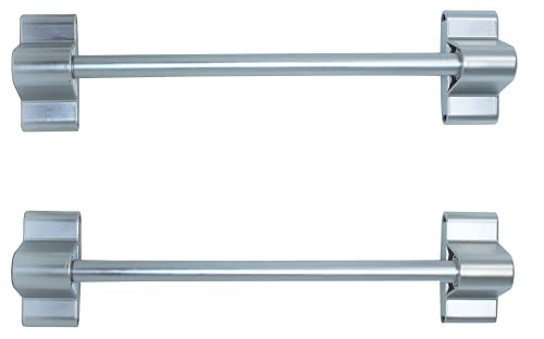 Skywin Magnetic Towel Holder for Refrigerator - 2 Pack Magnetic Curtain Rods for Metal Door with Adjustable Length - Fits Towels and Easily Attachable (2 Pack Silver)