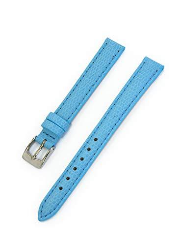 Cassis Donna – Pulseira para relógio de couro de novilho em relevo com lagarto de 11 mm, Azul, 11mm