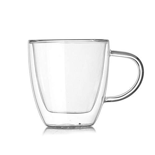 DYTJ-Mugs Glasbecher Doppelwandiger Milchsaft Wasser Kaffeetasse Kristall Transparente Becher Griff Trinkgefäße Liebhaber Paar Kreative Geschenke 160Ml, Transparent, 160Ml