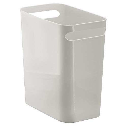 mDesign Slim Plastic Rectangular Large Trash Can Wastebasket, Garbage Container with Handles for Bathroom, Kitchen, Home Office, Dorm, Kids Room - 12' High, Shatter-Resistant - Light Gray