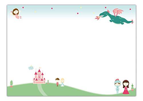 Schreibtischunterlage Prinzessin aus Papier zum Abreißen, DIN A2 mit Märchen-Motiv | 25 Blatt Schreibunterlage (60 x 42 cm) für Kinder, Mädchen & Erwachsene