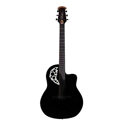 KEPOHK Concierto de guitarra de 41 pulgadasPlaca trasera de fibra de carbonoeléctricaAgujero de uva Negro Fotoeléctrico brillante41 pulgadas