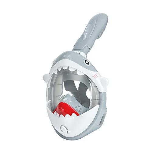 Glymnis Tauchmaske Kinder Schnorchelmaske Tauchermaske Anti-Fog und Anti-Leck Technologie Faltbare Vollmaske mit 180° Sichtfeld und Antibeschlagmittel Haifischform (Grau-xs)