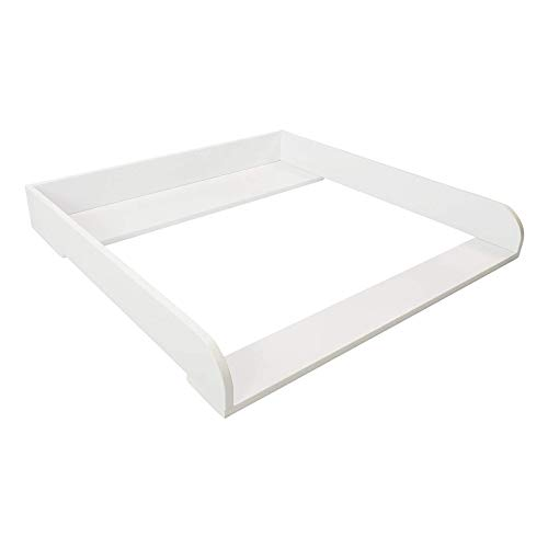 Puckdaddy Wickelaufsatz Fridolin – 78x70x10 cm, Wickelauflage aus Holz in Weiß, hochwertiger Wickeltischaufsatz passend für IKEA Brimnes Kommoden, inkl. Montagematerial zur Wandbefestigung