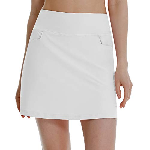 BALEAF Women's High Waisted Golf Skirts Tennis Athletic Running Workout Active Skorts Skirts with Pockets White Medium