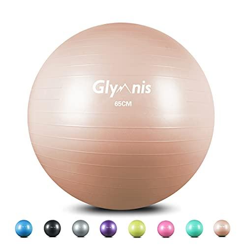 Glymnis Pelota de Ejercicio Pelota Anti-Burst para Pilates Gimnasia Fitness Embarazo Yoga Embarazo 55cm 65cm 75cm con Hinchador Rosa Oro (55cm)