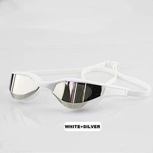 LZZB Gafas de natación Recubrimiento Impermeable Protección UV Competencia Gafas antiniebla Anteojos para Exteriores (Color: Blanco Plata Largo)