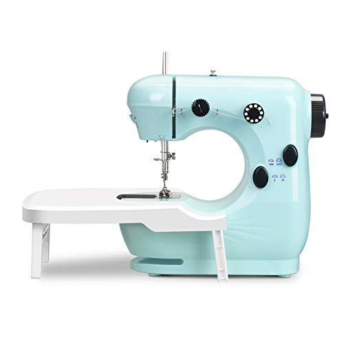 Mini Sewing Machine for beginners Girls age 7-12 , Portable Household Lightweight Sewing Machine with Extension Table, Double Thread and Free Arm Foot Pedal for Kids Girls Children Home Travel Use