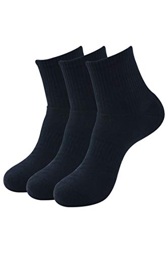 Balenzia Men's Full Cushioned High Ankle Sports Socks (Free Size) Made with 100% Combed Cotton & Spandex– Pack of 3 (Multi Colour)| Terry/Towel Ankle Socks for Men (Black,Navy, L.Grey)